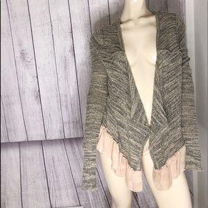 BKE Boutique tan & black sweater peplum detail L